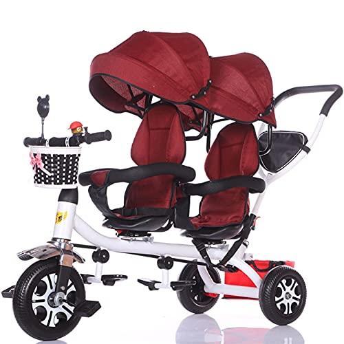 Silla de Paseo Carrito Niños niños trikez niño 3 ruedas triciclo bicicleta tándem doble cochecito doble liviano asientos delantero y trasero puede sentarse cochecito de bebé 1-3-7 años de antigüedad C
