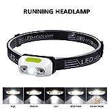 LED Stirnlampe USB Kopflampe, Chenci Mini Kopfleuchte Stirnlampen Kopflampen mit Sensor IPX6 Wasserdicht 4 Modi für Laufen Klettern Wandern Camping Jagd Angeln