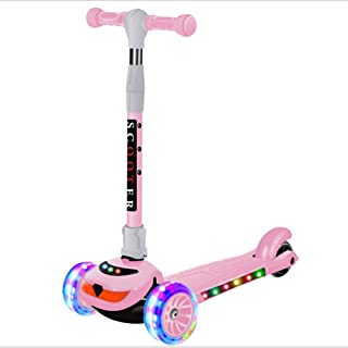AISHANG Three-Wheeled Scooter for Children, 90 kg for Boys and Girls Aged 2-14, Flashing LED Wheels, Foldable, Adjustable Height, Pink/Blue