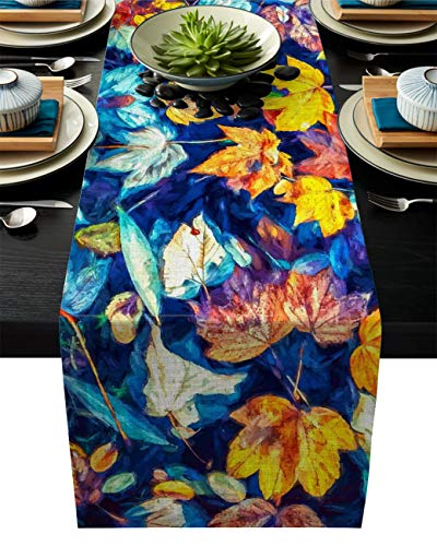 ABCrazy Dining Table Runner 13 x 70inch, Maple Leaves Falling Durable Table Covers Decoration for Family Dinner Kitchen Patios Coffee Table Everyday Use Tablecovers Painting Design