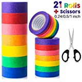 Colored Masking Tape, 21 Rolls Colored Painters Tape for Arts and Crafts with Scissors, Colorful Painter Tape...