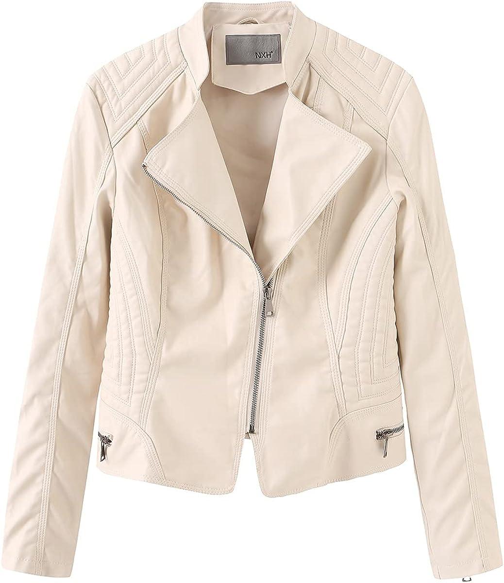 Women's Lapel Zipped Faux Leather Moto Biker Jacket Casual Short Coat Outwear
