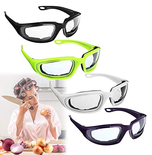 4 Pcs Onion Goggles Glasses, 4 Color Anti-Fog Tear Free Eye Protect Onion Security Goggles, Women Green Kitchen Gadget Tearless Onion Goggles Glasses With Soft Inside Sponge for Cooking BBQ Grilling