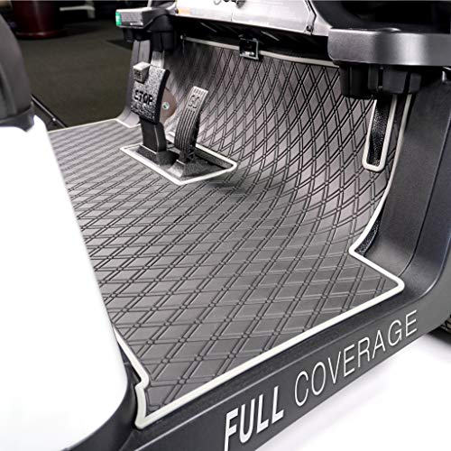 Xtreme Mats Club Car Full Coverage Golf Cart Floor Liner Mat W/Color Options- Fits 2 and 2+2 Club Car Models Precedent (2004+)/Onward & Tempo (2017-2021), Villager - Black with Grey Trim