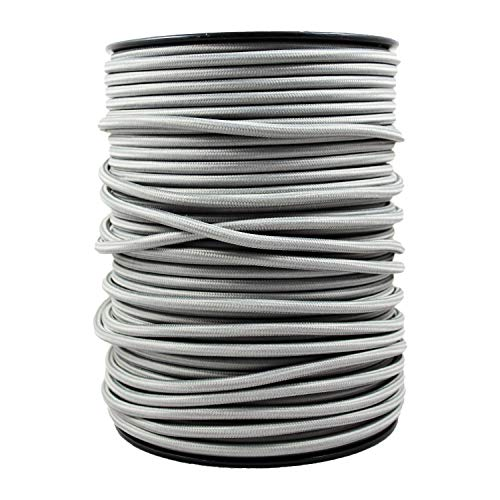 smartect Cavo elettrico Tessuto - Grigio - 50 Metro cavo tessile intessuto - Tripolare (3 x 0.75mm²) - Cavo elettrico rivestito per Fai da Te