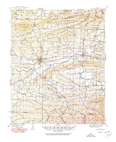 YellowMaps Booneville AR topo map, 1:62500 Scale, 15 X 15 Minute, Historical, 1934, Updated 1975, 21.9 x 17.9 in - Paper (Best Places To Work Remotely In Minneapolis)