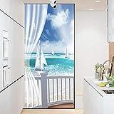 Pellicola per Vetri Adesivo di Vetro Paesaggio Marino Opache Glassate Privacy,Attraverso La Luce Window Glass Sticker Adesivo per Finestra Pellicola per Porte 60x90cm
