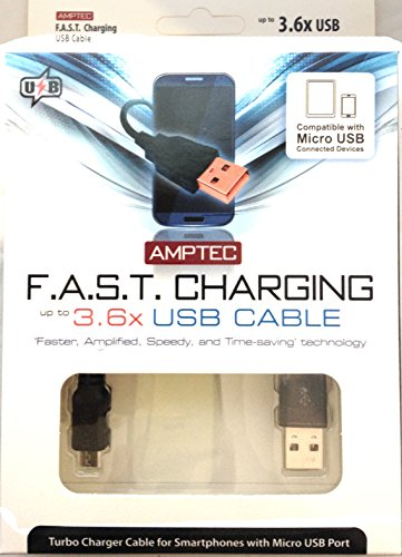 Amptec F.A.S.T. Charging MicroUSB Charging Cable, charges up to 3.6x faster for all Android Phones, Including Galaxy S5, Galaxy S4, Galaxy S3