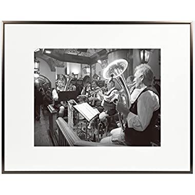 Golden State Art 16x20 Aluminum Frame, Medium Bronze Color, with Ivory Mat for 11x14 Picture/Photo & Real Glass (16x20)