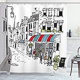 Ambesonne París Cortina de Baño, Parisina Calle Adoquinada Cafe, Paño Conjunto de Decoración de Baño de Tela y Ganchos, 70' Alto, Gris Blanco