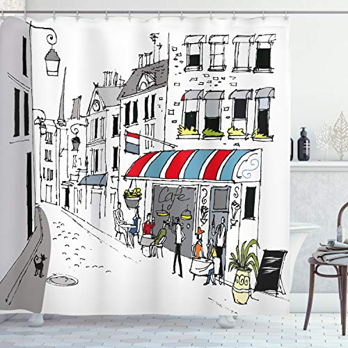 """Ambesonne Paris Shower Curtain, Drawing of a Street in Paris a Cafe and The Street Lamp Illustration Art Print, Cloth Fabric Bathroom Decor Set with Hooks, 84"""" Long Extra, White Grey"""