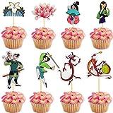 Newmemo Mulan Cupcake Toppers 24pcs, Princess Mulan and Dragon Mushu Cupcake Picks Cake Decorations for Kids Girls Princess Mulan Theme Party Supplies
