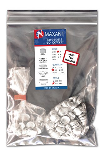 100 Buttons to Cover - Made in USA - Self Cover Buttons with Flat Backs - Size 24 with Tool