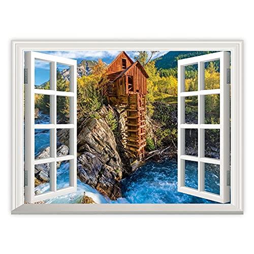 3D Wall Art Pinturas Ventana Mirando hacia fuera Molino de cristal para sala de estar, oficina, pared, obras de arte de dormitorio, decoración de baño, hogar, decoración de pared, 40,6 x 60,9 cm