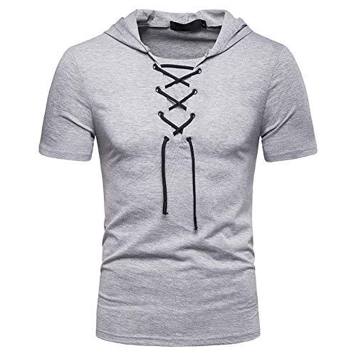 Verano hombres Must-Have – Camiseta sudadera con capucha de manga corta sudadera sudadera sudadera sudadera sudadera sudadera sudadera sudadera sudadera sudadera de manga corta (18-24 años), Light Gray, M