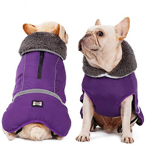 Doglay Reflective Dog Winter Coat Pet Warm Christmas Clothes, Waterproof Windproof Cold Weather Dog Jacket with Furry Collar, Soft Puppy Vest Apparel for Small Medium Large Dogs
