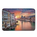 Colchoneta de puerta antideslizante de paisaje urbano, imagen del Gran Canal en Venecia Ciudad europea del horizonte Patrimonio internacional de la ciudad Alfombra urbana para puerta de baño de interi