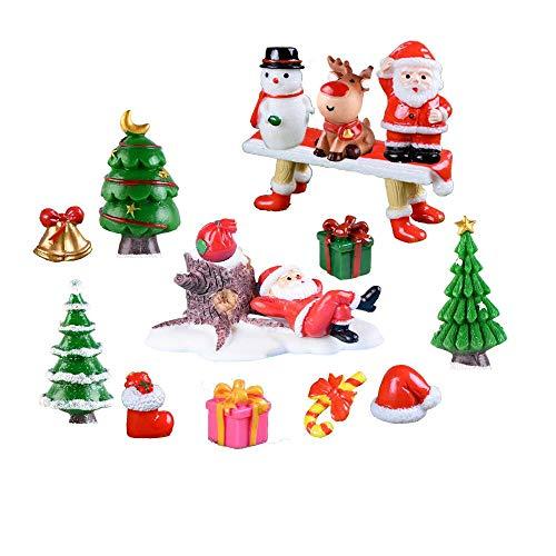 FunMove Juego de mini adornos de Navidad para decoración de casa de muñecas, Papá Noel, árboles de Navidad, muñeco de nieve, copo de nieve, calcetines rojos, campana, regalos, banco de 16