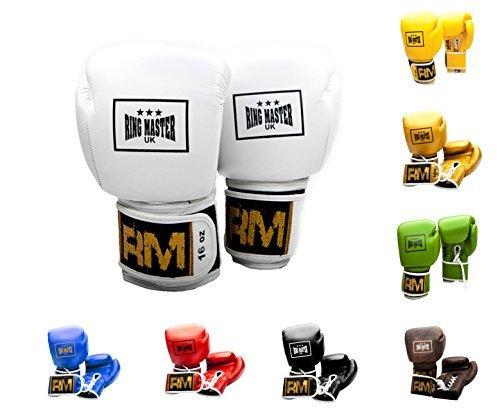 RingMaster Guantes de boxeo profesionales de piel auténtica del Reino Unido, saco...