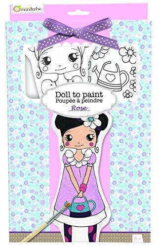 Avenue Mandarine PP009O - Une boite Poupée à peindre comprenant une poupée 13x4x28 cm, un pinceau, un ruban, une planche adhésive en tissu et 6 pots de peinture, Rose