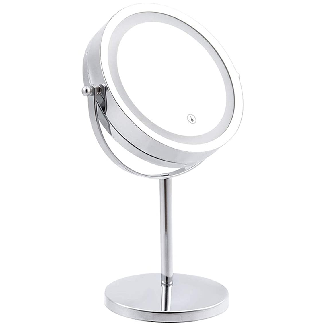 補償乗り出す宿題をするONOJT 化粧鏡- Led化粧鏡付き両面化粧鏡両面虫眼鏡レディースギフト付きled化粧鏡 (Color : Silver, Size : 17.5x33cm)