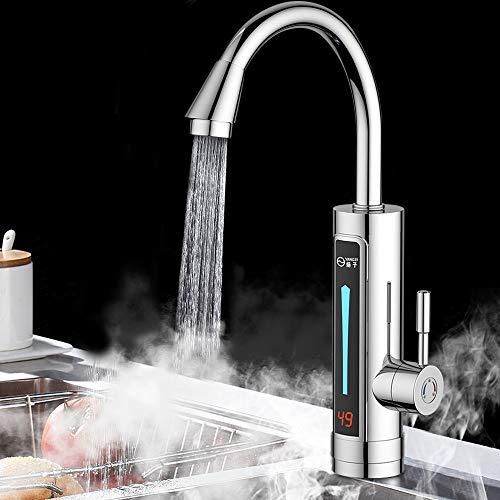 360° LED Elektrisch Wasserhahn mit Durchlauferhitzer YUNRUX Sofort Warm Küchearmatur Spültisch Küchenarmatur Badarmatur Einhebel Mischbatterie Waschtisch Armatur Einhandmischer Bad Faucet 3300W