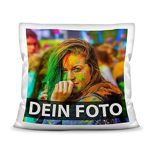 Foto-Kissen Selbst gestalten (40 x 40 cm) - weiß - mit Foto individuell Bedruckt/Inkl. Kissenfüllung / 100% Polyester/Personalisierte...