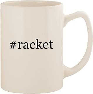 #racket - White Hashtag 14oz Ceramic Statesman Coffee Mug Cup