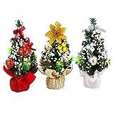 byou Dscritorio árbol de Navidad,Mini Árbol de Navidad Artificial 3 Piezas Plata Oro Rojo Árbol de Navidad para decoración de Mesa para Navidad día de San Valentín Fiesta en casa