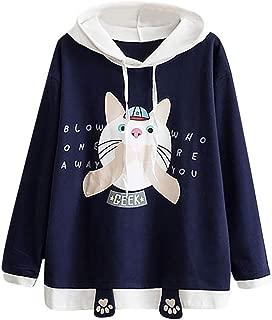 Womens Japanese Sweatshirt Kawaii Style Kitty Cat Print Long Sleeve Thin Hoodie Tops with Pockets 2019