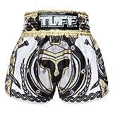 Tuff Boxing Sport Muay Thai Shorts Trunks Kick Martial Arts Training Gym Clothing, Tuf-ms634-wht, Large
