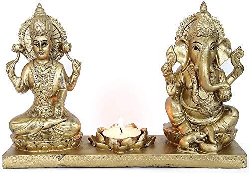 VintFlea dea Lakshmi Ganesh Idol (22cm x 11.99cm x 42.01cm, Oro)