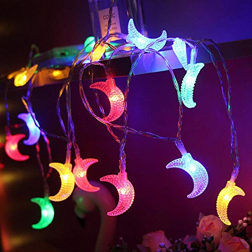 20ft 40 LED Moon String Lights, Fairy Lights Battery Powered Decorative Lighting for Wedding Party Home Garden Bedroom Outdoor Indoor, Décor Gift for Ramadan, Mother's Day,Colorful