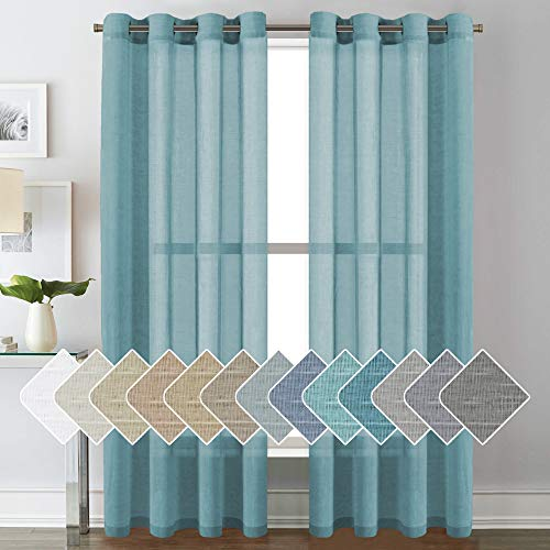 Linen Curtains Nickel Grommet Natural Linen Semi-Sheer Curtains, Privacy Added Premium Soft Rich Material Linen Curtain Panels for Bedroom/Studyroom/Sliding Door - 52x84 - Inch - Turquoise