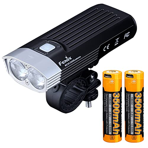 Fenix BC30 v2.0 Bicycle Light, 2200 Lumen Dual Beam with Wireless Remote Two ARB-L18-3500U 3500mAh USB Rechargeable Batteries