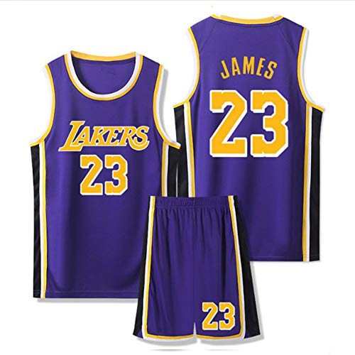 Dybory Kinder Herren Trikots, Lebron James # 23 Los Angeles Lakers Retro Basketball Uniform Kits, Mesh Edition Sommeranzüge Sportweste + Shorts 1 Set,Lila,XL