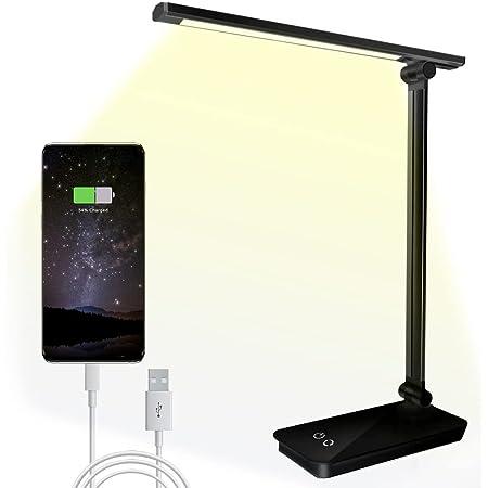 SunTop Lampe de Bureau LED, Lampes de Bureau Dimmable 5 Modes de Couleur 3 Niveaux de Luminosité, Flexible Contrôle Tactile Protection des Yeux,Lampe de chevet avec Port Chargeur USB