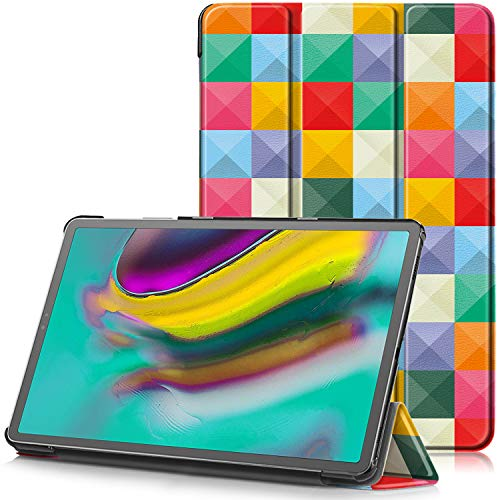 TTVie Cover per Samsung Galaxy Tab S5e, Custodia Ultra Sottile e Leggero con Coperture da Supporto e Funzione Auto Sveglia Sonno per Samsung Galaxy Tab S5e (2019) Tablet 10.5 , Cubo Colorato
