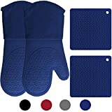 HOMWE Silicone Oven Mitts and Pot Holders, 4-Piece Set, Heavy Duty Cooking Gloves, Kitchen Counter Safe Trivet Mats, Advanced Heat Resistance, Non-Slip Textured Grip, Royal Blue