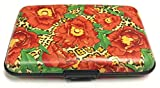 Fig Design Group Leopard Poppy Flower RFID Secure Theft Protection Credit Card Armored Wallet New