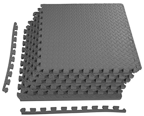 BalanceFrom Puzzle Exercise Mat with EVA Foam Interlocking Tiles | 1/2' / 24 Sq. Ft | Gray