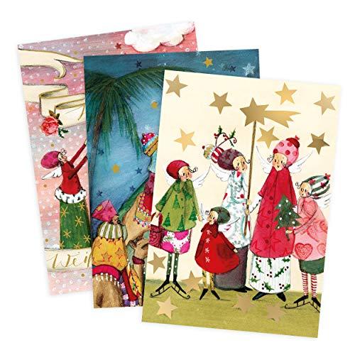 3er Set Glückwunschkarten zu Weihnachten, Heilige drei Könige, Sternensänger, Engel, neutral, Junge, Mädchen, blanko, Karte zu Weihnachten, DIN A6