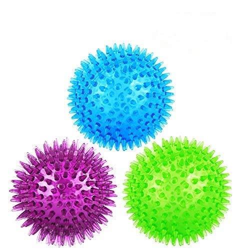 Shiny-Go Hundespielzeug mit Quietschball, TPR, federnd, schwimmend, Zahnreinigung, 8 cm Durchmesser, für mittelgroße und kleine Hunde, zufällige Farbe, 3 Stück