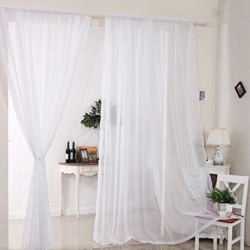 Interlink-UK 2 Stück Gardine Vorhang transparent aus Voile Dekoschal 140x230cm Weiß