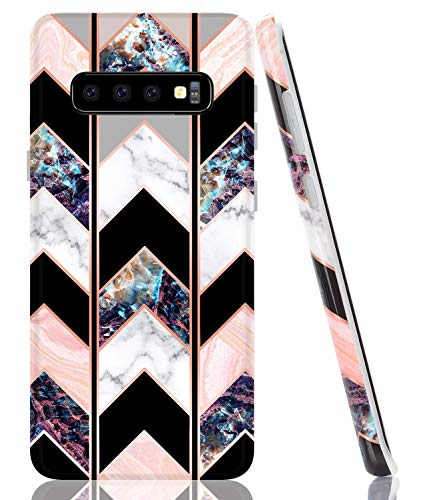 BAISRKE Case for Galaxy S10, Shiny Rose Gold Marble Wave Geometric Case Slim Soft TPU Rubber Bumper Silicone Protective Phone Case Cover for Samsung Galaxy S10 - Black