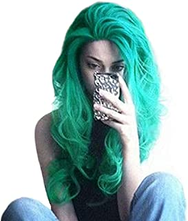 Riglamour Long Turquoise Ombre Green Hair Synthetic Lace Front Wigs Body Wave