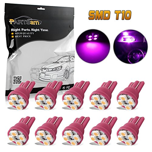 Partsam T10 194 2825 LED Light Bulb 168 LED Bulbs Bright Instrument Panel Gauge Cluster Dashboard LED Light Bulbs Set 10Pcs-Purple