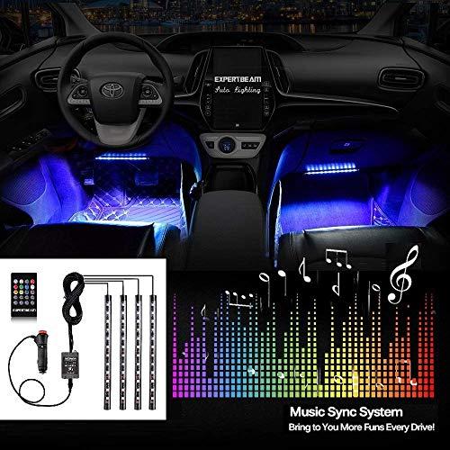 Car LED Strip Lights EXPERTBEAM interior footwell lighting kit 8 colors 4 pcs 48 LED Multi Color Interior Lights, Remote Control Under Dash Lighting Kit DC 12V
