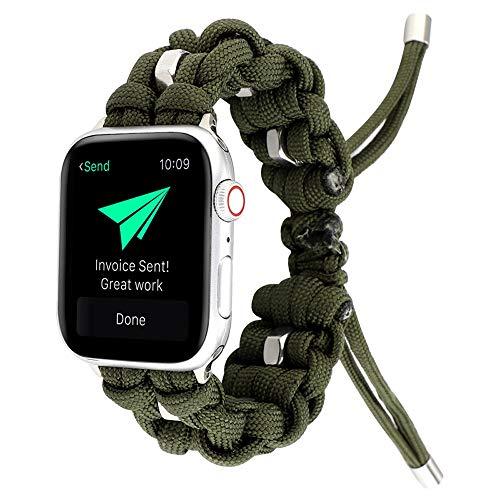 PULLEY Compatible con iWatch Band de 44 mm y 42 mm, correa de repuesto para paraguas para exteriores, compatible con Apple Watch Series 5, 4, 3, 2, 1 (color: verde, tamaño: 44 mm)