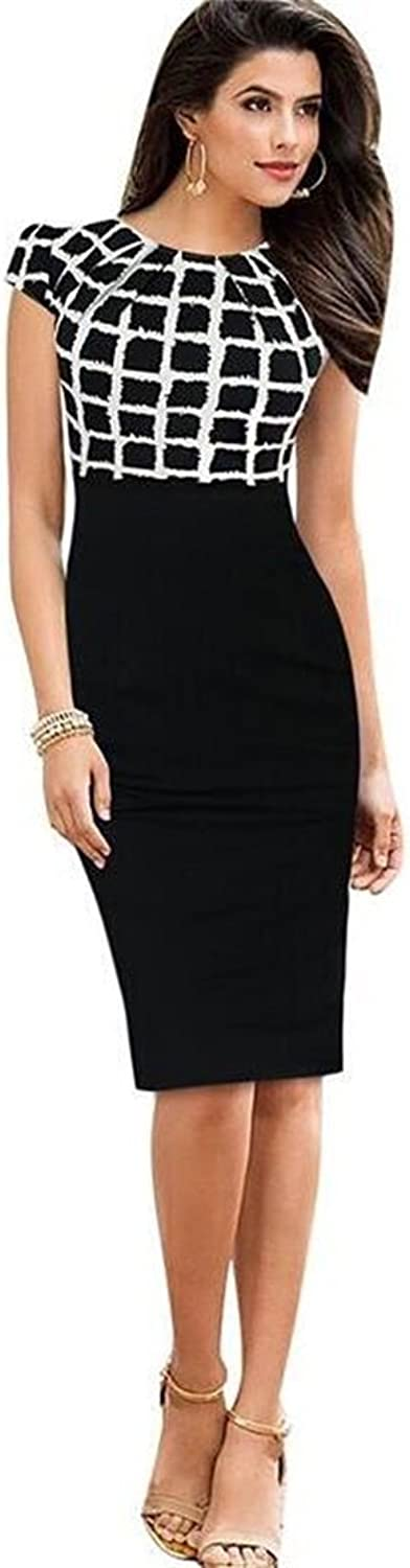 Designer97 Women's Contrast color Round Neck Short Sleeve Pencil Dress Wear to Work